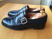 Churches Westbury Polished Binder Black leather mens handmade monk formal shoes, size 9G, RRP £395