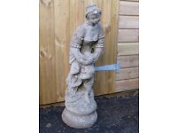 VINTAGE LARGE LADY HOLDING A DOVE GARDEN STATUE 83cm TALL GARDEN ORNAMENT