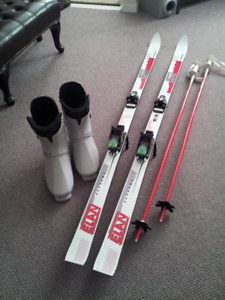 Skis, poles, and boots