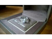 Neil lane engagment ring diamond 0.81 carat 14ct white gold band with diamond shoulders.