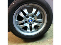 "16"" x4 GENUINE USED BMW ALLOY WHEELS & TYRES FITS 3 SERIES E90"