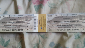 Winnipeg Blue Bombers vs Montreal July 24 Section 121 Row 4
