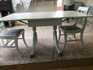Painted Antique Table + 6 Harp-back chairs