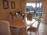 Refurbished Extendable Wooden Dining Table with 4 Chairs