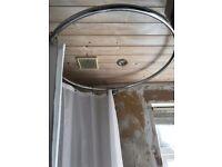 Round Chrome shower rail & white curtain