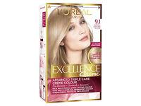 4 X L'Oreal Excellence Creme 9.1 Light Ash Blonde Hair Dye (Brand New)