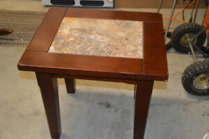 Solid Wood End Table with Stone Inset