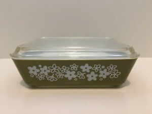 Vintage Olive Green Pyrex Crazy Daisy Refrigerator Dish With Lid