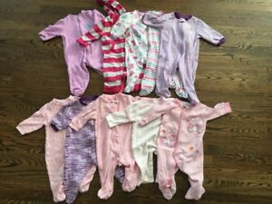 Size 3-6 month girls sleepers