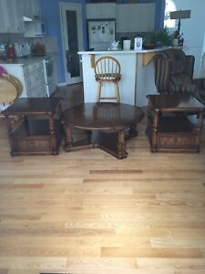 Mahogany round coffee table with 2 end tables