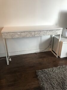 High gloss white desk with faux marble drawers