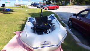 Inflatable boat with wheels - great condition