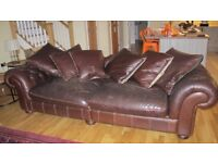 Two LARGE leather Chesterfield style sofas with cushions