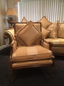 Gascoigne Designs French Queen Ann chair gold stripe Rrp £2,000