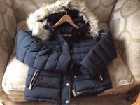 Topshop Navy Puffer Jacket with Fur Trim - Size 16