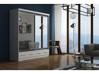 **DELIVER SAME DAY GUARANTEE!**WHITE 180 CM MARGO MIRROR Sliding Door Wardrobe -SAME DAY DELIVERY!