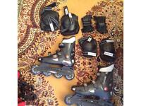 Rollerblades with pads and rollerblade bag adult size 6-7.5