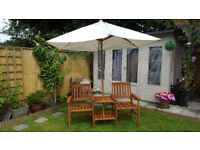 Heavy Duty Wooden Garden Love Seat Bench With Parasol Hole, Table