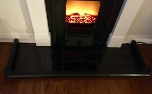 Black Adjustable Metal Fireplace Surround