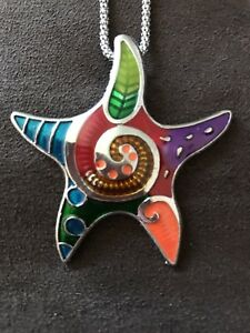 Colourful starfish pendant and matching earrings set-NEW!