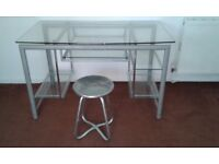 Dressing Table / Glass Computer Desk & Stool - DELIVERY AVAILABLE