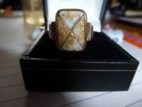 antique alaskan gold vein and quartz signet ring.