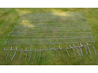 Slate/snow galvanised ROOF guards SEVEN 2m lengths with 18 clips removed from roof