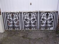 3 x hand-forged wrought iron balustrade panels and 8 x matching barley twist spindles