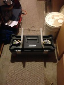 Husky tool box and assortment or tools