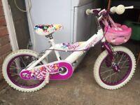 "Girls 16"" Huffy Style White Bike with helmet"