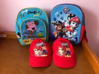 Kids paw patrol hat/backpack and George pig backpack