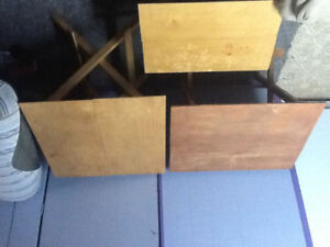 3 wooden folding tables