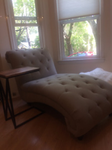 BRAND NEW tufted grey chaise - 600 OBO