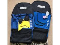 2x Cobra bodyboards with Bulldog bodyboard bags and accessories surfing