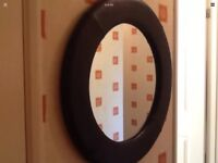 "Wall mounted hanging large leather round mirror measuring abt 29"" 73cm"