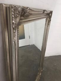 FRENCH SILVER EXTRA LARGE SHABBY CHIC ANTIQUE STYLE MIRROR