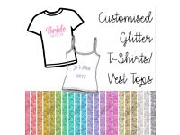 Custom Personalised T-shirt/Vest Top - Glitter Text - Perfect for Hen Do, Wedding, Birthday