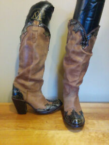 Leather and Snake Skin High Heel Cowboy Boots