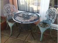 3 Piece Bistro Set Outdoor Garden Table and Chairs Cast Aluminium in Poole