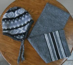 Tuque d'hiver BOCCHI et Foulard (tons de noir/gris/blanc)