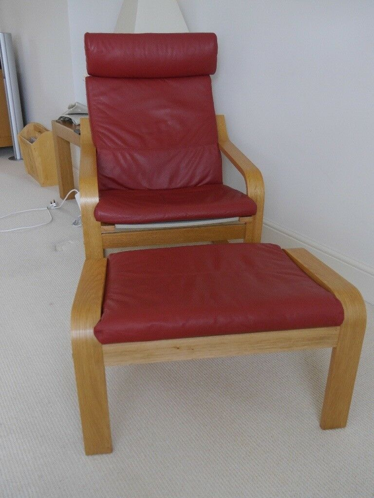 Ikea Poang Red Leather Chair And Footstool