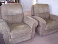2 x Fabric Reclining Chairs - one Electric + one Manual
