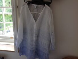 Ladies blue and white linen top