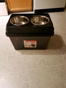 Airtight Elevated Dog food feeder and storage
