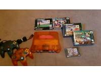N64 fire orange with 5 games including Mario kart sale or trade
