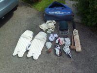 Youth Cricket Equipment (Bag, pads, gloves, helmet, bat, sweater, box)