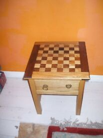 Solid hardwood handmade chess table.