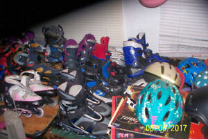 ASSORTMENT OF ROLLERBLADES,GOLF ITEMS,TENIS ITEMS,+