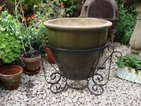 Large Glazed Pottery Planter in Wrought Iron Stand.