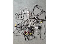 Collection of phone chargers, cables and wires